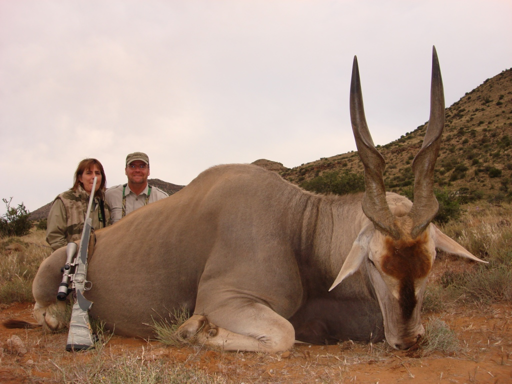 Brett & Shellie with a exceptionaly old Cape Eland bull, a highlight of the trip.