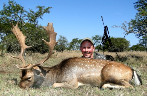 "As for Brian Nelson, the biggest character on safari, and now fondly known as the ""Butterfly catcher"" (don't ask us - ask Chad Badger?) Brian hunted a bunch of great trophies, but we all loved his Fallow Deer stag."