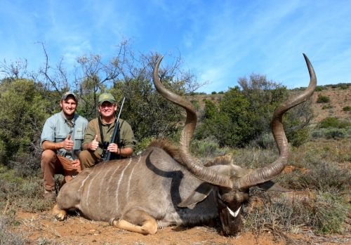 "How about Mike Grier's massive East Cape Kudu. How clearly the memory sits with me now. Mike had been on two previous hunts with us before, this was his third and a dream of a 50"" Kudu was all Mike had in mind. Phew! It's great to produce the results! Better lucky than good I say!"